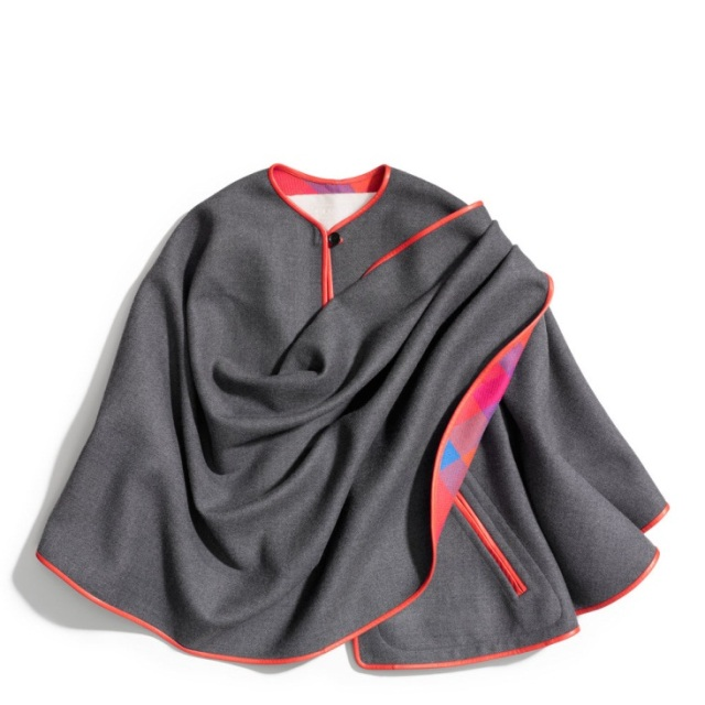 Grey Wrap Cape with Red Trim