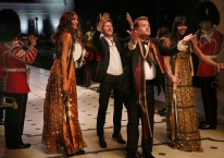 Jourdan Dunn, Christopher Bailey, James Corden and Naomi Campbell Burberry at the _London in Los Angeles_ Show Finale